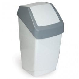 Ведро-контейнер 15 л, с крышкой (качающейся), для мусора, Хапс, 46х26х25 см, серое, IDEA, М 2471