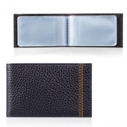 Визитница карманная FABULA Brooklyn на 40 визитных карт, натуральная кожа, контрастная отстрочка, черная, V.82.BR
