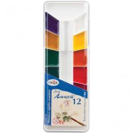 Краски акварельные ГАММА Лицей, 12 цветов, медовые, без кисти, пластиковая коробка