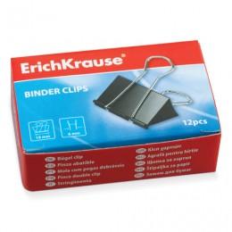 Зажимы для бумаг ERICH KRAUSE, комплект 12 шт., 19 мм, на 70 листов, черные, в картонной коробке, 25086