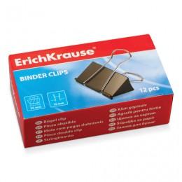 Зажимы для бумаг ERICH KRAUSE, комплект 12 шт., 25 мм, на 110 листов, черные, в картонной коробке, 25087