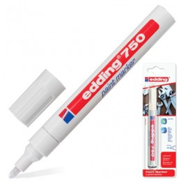 Маркер-краска лаковый (paint marker) EDDING 750, 2-4 мм, круглый наконечник, алюминиевый корпус, белый, Е750/49
