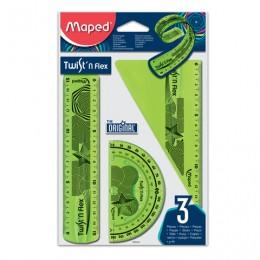 Набор чертежный малый MAPED Twist`n Flex (линейка 15 см, угольник, транспортир), гибкий, ассорти, подвес, 895024