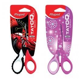 Ножницы MAPED (Франция) Tatoo Innovation, 130 мм, с цветной печатью, цвет корпуса ассорти, 470010