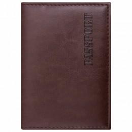 Обложка для паспорта STAFF, экокожа, мягкая изолоновая вставка, PASSPORT, коричневая, 237184