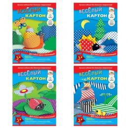 Картон цветной А4 2-сторонний МЕЛОВАННЫЙ, ВЕСЕЛЫЙ (принт), 6 листов 6 цветов, в папке, АППЛИКА, 205х290 мм, С0151