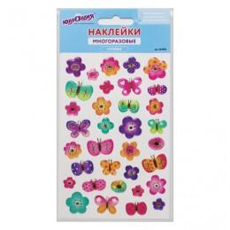 Наклейки гелевые Бабочки и цветочки, с тиснением фольгой, 10х15 см, ЮНЛАНДИЯ, 661835