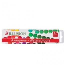 Краски акварельные ГАММА Illusion, 6 цветов, медовые, без кисти, картонная коробка, 212085,10-1006