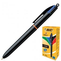 Ручка шариковая автоматическая BIC 4 Colours Pro, 4 цвета (синий, черный, красный, зеленый), узел 1 мм, линия письма 0,32 мм, 902129