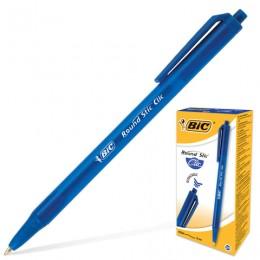 Ручка шариковая автоматическая BIC Round Stic Clic, СИНЯЯ, корпус тонированный синий, узел 1 мм, линия письма 0,32 мм, 926376