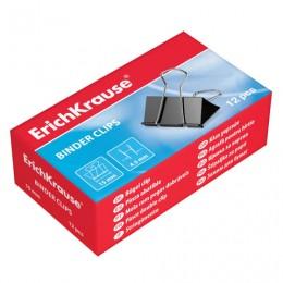 Зажимы для бумаг ERICH KRAUSE, комплект 12 шт., 32 мм, на 145 листов, черные, в картонной коробке, 2983