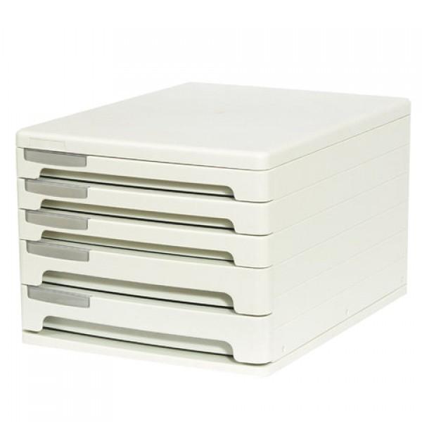 Блок из 5 закрытых лотков для бумаги, настольный, ERICH KRAUSE, А4+, 210х260х345 мм, серый, 53