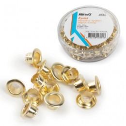 Люверсы омедненные KW-trio, комплект 250 шт., внутренний диаметр 4,8 мм, длина 4,6 мм, цвет золото, -9707