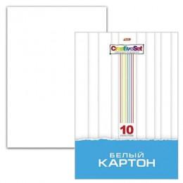 Белый картон, А4, мелованный, 10 листов, 235 г/м2, в папке, HATBER
