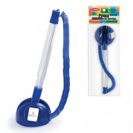 Ручка шариковая настольная BEIFA (Бэйфа) СтопПен, СИНЯЯ, корпус прозрачный/синий, линия письма 0,7 мм, AP8863-BL