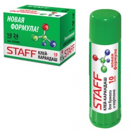 Клей-карандаш STAFF, 10 г, PVP-основа, новая формула, РОССИЯ, 225000