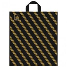 Пакет с петлевой ручкой ПВД, 42х38 см, Золотая полоса, 43 мкм