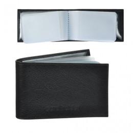 Визитница карманная BEFLER Грейд на 40 визитных карт, натуральная кожа, тиснение, черная, K.5.-9