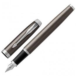 Ручка перьевая PARKER IM Core Dark Espresso CT, корпус кофейный лак, хромированные детали, синяя, 1931650