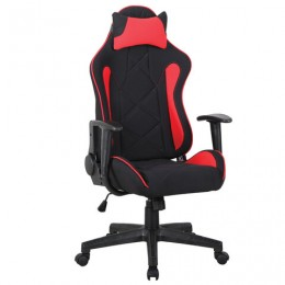 Кресло компьютерное BRABIX GT Racer GM-101, подушка, ткань, черное/красное, 531820