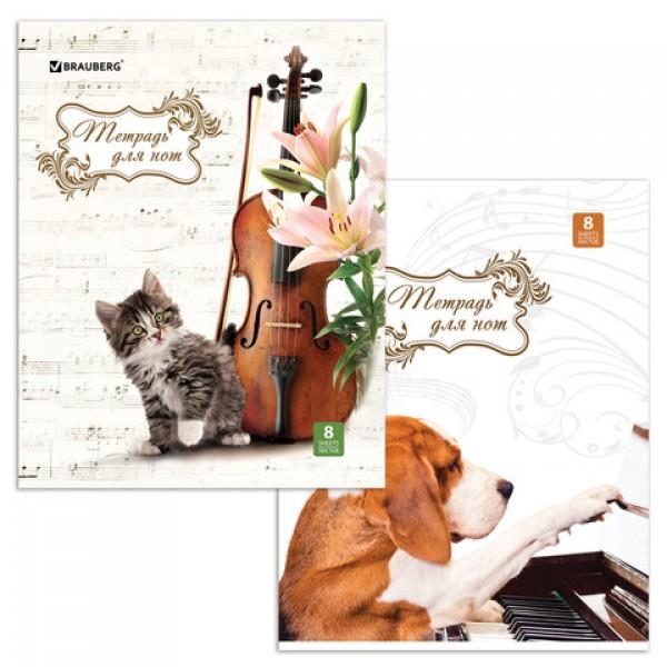 Тетрадь для нот А4, 8 л., BRAUBERG обложка мелованный картон, вертикальная,