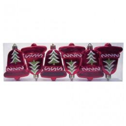 Украшения елочные подвесные Колокольчики, НАБОР 6 шт., 8 см, пластик, с рисунком, красные, 59599