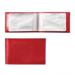 Визитница карманная BEFLER Ящерица, на 40 визитных карт, натуральная кожа, тиснение, красная, V.30.-3