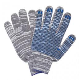 Перчатки хлопчатобумажные 10 класс, 50-52 г, 133 текс, ПВХ-точка, комплект 5 пар, ЛАЙМА ЛЮКС 2, плотные, серые, 604474