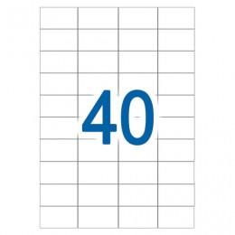 Этикетка самоклеящаяся УДАЛЯЕМАЯ, 52,5х29,7 мм, 40 этикеток, белые, 65 г/м2, 50 л., STAFF, 128837