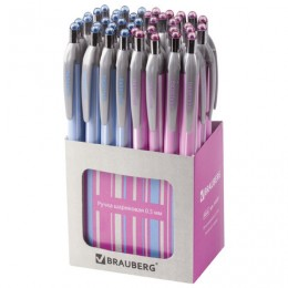Ручка шариковая автоматическая BRAUBERG Sakura, корпус ассорти, узел 0,5 мм, линия письма 0,3 мм, 141287