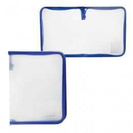 Папка на молнии пластиковая, А5, объемная, 235х185х20 мм, прозрачная диагональ, BRAUBERG, Россия, 226034