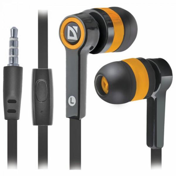 Наушники с микрофоном (гарнитура) вкладыши DEFENDER Pulse 420, проводные,1,2 м, вкладыши, черные с оранжевым, 63420