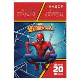 Набор цветного картона и бумаги А4 мелованный, 10+10 листов, в папке, HATBER,194х280 мм, Человек-паук, 20НКБ4, 20НКБ4_20293