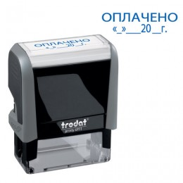 Штамп стандартный ОПЛАЧЕНО, дата, оттиск 38х14 мм, синий, TRODAT 4911P4-3.13, 4911-3.13