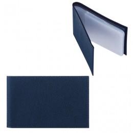 Визитница карманная FABULA Largo на 40 визиток, натуральная кожа, синяя, V.1.LG