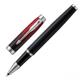 Ручка-роллер PARKER IM Red Ignite CT, корпус черный матовый, хромированные детали, черная, 2074032