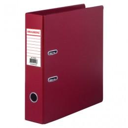 Папка-регистратор BRAUBERG с двухсторонним покрытием из ПВХ, 70 мм, бордовая, 222653