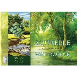 Альбом для акварели, А3, 24 л., HATBER, спираль, жесткая подложка, 180 г/м2,