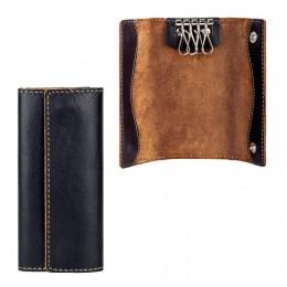 Футляр для ключей FABULA Kansas, натуральная кожа, отстрочка, 2 кнопки, 60х125х15 мм, черный, KL.5.TX
