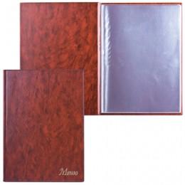 Папка Меню с 10 файлами, 220х320 мм, коричневая, ДПС, 2137.М-104