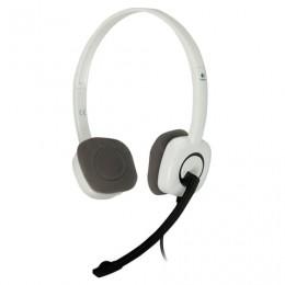 Наушники с микрофоном (гарнитура) LOGITECH H150, проводные, 1,8 м, с оголовьем, белые, 981-000350