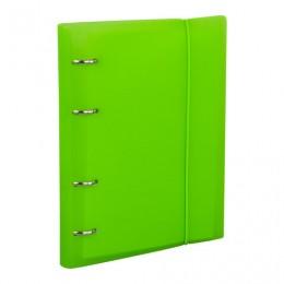 Тетрадь на кольцах А5 (175х220 мм), 120 л., пластиковая обложка, клетка, с фиксирующей резинкой, BRAUBERG, зеленый, 403569