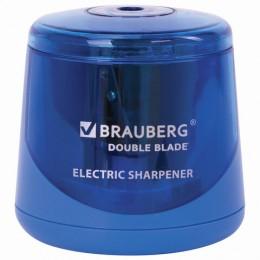 Точилка электрическая BRAUBERG DOUBLE BLADE, двойное лезвие, питание от 2 батареек AA, 229605