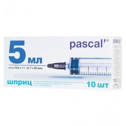Шприц 3-х компонентный PASCAL, 5 мл. КОМПЛЕКТ 10 шт. в коробке, игла 0,7х30 - 22G, ш/, 120406