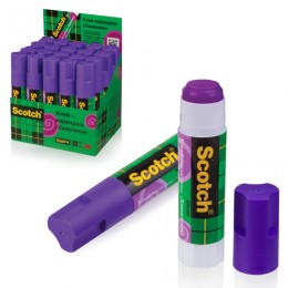 Клей-карандаш SCOTCH, обесцвечивающийся, фиолетовый, 15 г, 6115D20