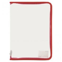 Папка для тетрадей А4 ПИФАГОР, пластик, молния вокруг, прозрачная, красная, Код_1С, 228214