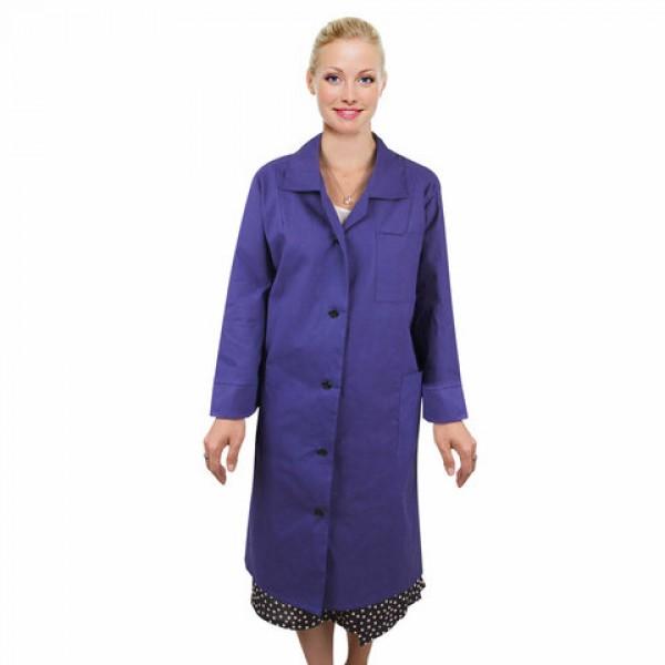 Халат рабочий женский синий, бязь, размер 44-46, рост 158-164, плотность 142 г/м2, 610802