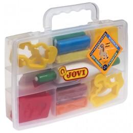 Пластилин JOVI (Испания), набор, 8 цветов, 200 г, 12 форм, 3 стека, скалка, пластиковый чемодан, 230