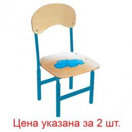 Стулья детские Тёма, комплект 2 шт., регулируемые, рост 1-3 (100-145 см), Бегемот, фанера/металл, голубой