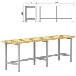 Скамья для раздевалок, 1500х340х475 мм, каркас металлический серый, сиденье дерево, П-13Д(1500)